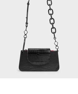 クロックエフェクト フロントフラップウォレット / Croc-Effect Front Flap Wallet