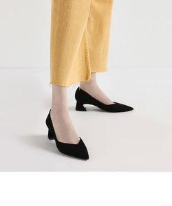 Vカットカバード ブロックヒールパンプス / V-Cut Curved Block Heel Pumps