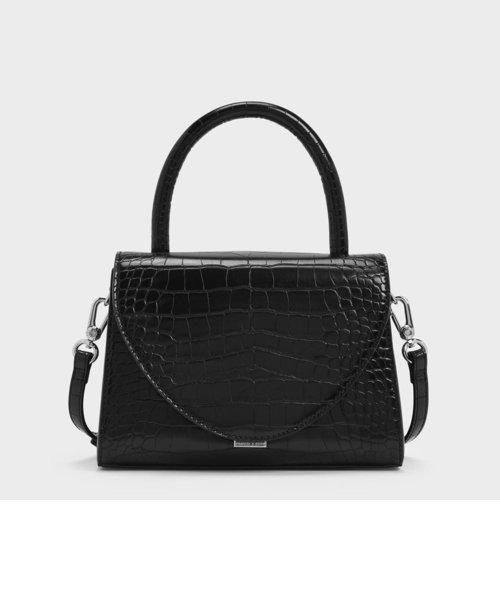 クロックエフェクトストラクチャー トップハンドル / Croc-Effect Structured Top Handle Bag
