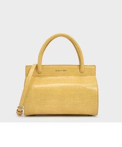 クロックエフェクト ダブルハンドルバッグ / Croc-Effect Double Handle Bag