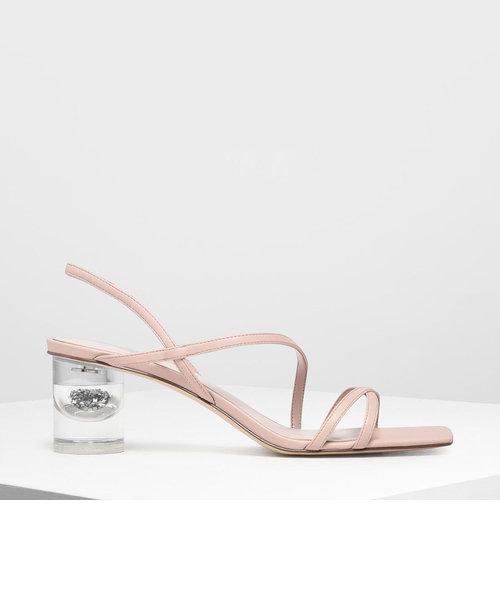 アシメトリカルストラップ ルーサイトヒールサンダル / Asymmetrical Strap Lucite Heel Sandals