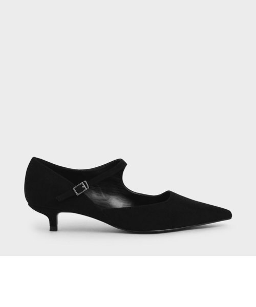 テクスチャードアシンメトリック メリージェーンキトゥンヒール / Textured Asymmetric Mary Jane Kitten Heels