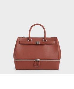 ラージ2ウェイジップストラクチャードトートバッグ / Large Two-Way Zip Structured Tote Bag