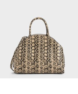 スネークプリント トップハンドルラージドームバッグ / Snake Print Top Handle Large Dome Bag