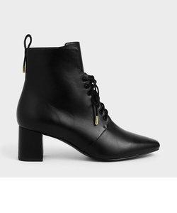 レースアップヒール アンクルブーツ / Lace-Up Heeled Ankle Boots