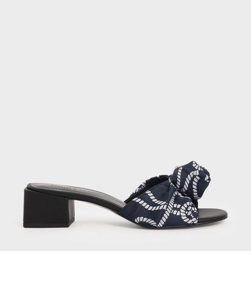 ジャカードフロントノット スライドサンダル / Jacquard Front Knot Slide Sandals