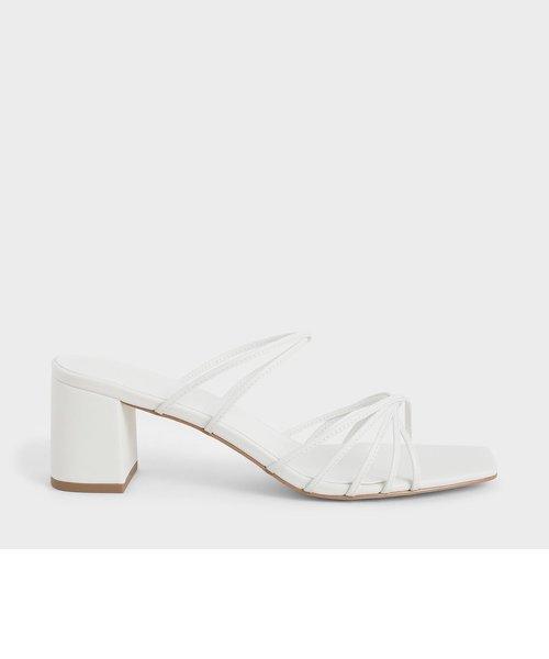 【再入荷】ストラッピー スクエアトゥサンダル / Strappy Square Toe Sandals (Black)