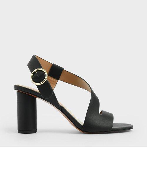 アシンメトリック ストラップヒールサンダル / Asymmetric Strap Heeled Sandals