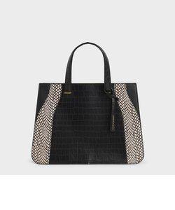 クロックエフェクト ダブルトップハンドルトートバッグ / Croc-Effect Double Top Handle Tote Bag