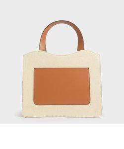 フロントポケット ダブルトップハンドルバッグ / Front Pocket Double Top Handle Bag
