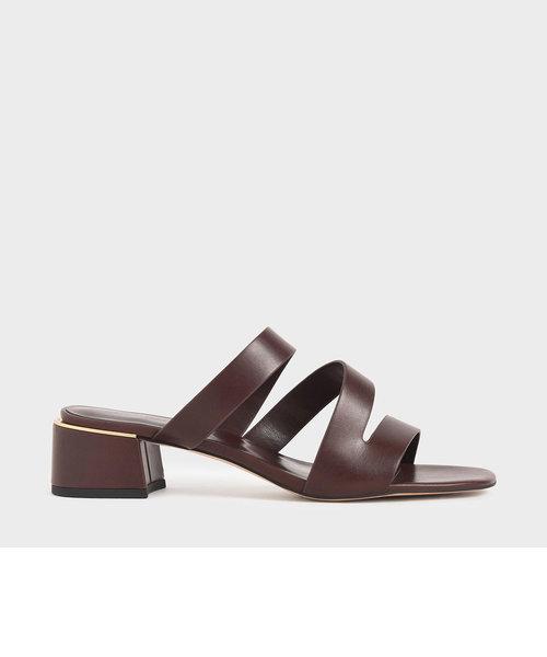 ストラッピーブロックヒールサンダル / Strappy Block Heel Sandals (Brown)