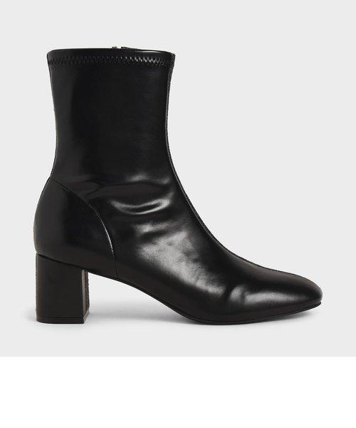 ツートーン ブロックヒールアンクルブーツ / Two-Tone Block Heel Ankle Boots