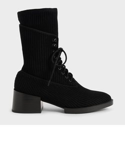 【2020 WINTER】ニットレースアップ アンクルブーツ / Knitted Lace-Up Ankle Boots