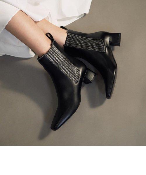 ステッチトリム アンクルブーツ / Stitch-Trim Ankle Boots