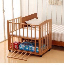 日本製 添い寝ツーオープンミニベッド (ナチュラル)