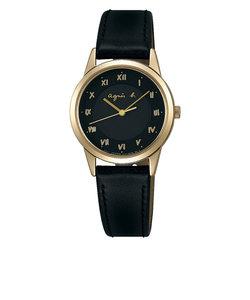 アニエスベー agnes b 腕時計 レディース アナログ ブラック 革バンド イエローゴールドケース FBSD941