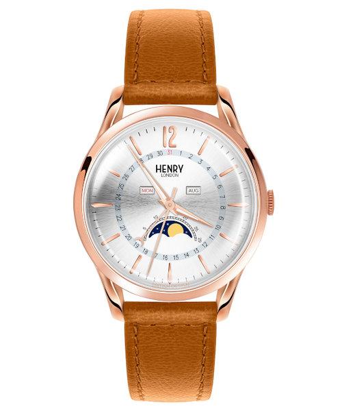 ヘンリーロンドン HENRY LONDON メリルボーン 日本限定 HL39-LS-0384 メンズ クオーツ 革ベルト ブラウン ムーンフェイズ