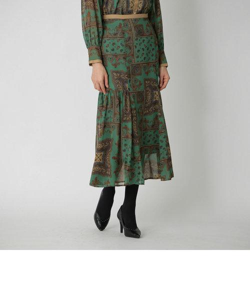シフォン ペイズリー ミディスカート