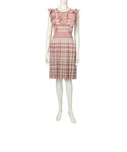 フリルボーダーニットドレス