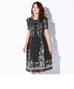 楊柳フラワープリントドレス