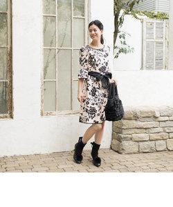 【ウォッシャブル】フラワーシャンタンプリントドレス