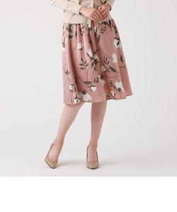 フラワーサテンフレアースカート