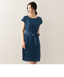 ジョーゼットプリーツロング丈ドレス