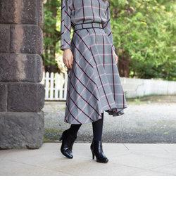 ウールチェックタックフレアースカート