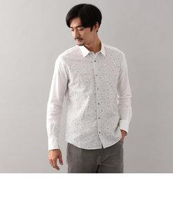 フラワー刺繍シャツ