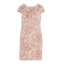【TADASHI SHOJI】ピンク フラワーリーフレース ミディアムドレス