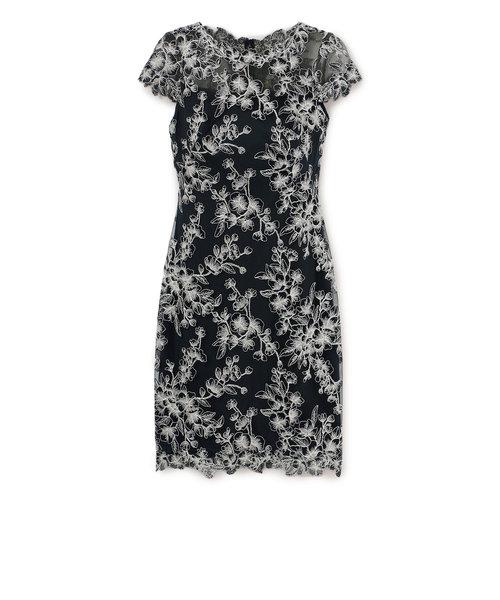 【TADASHI SHOJI】ネイビータイトミディアムドレス