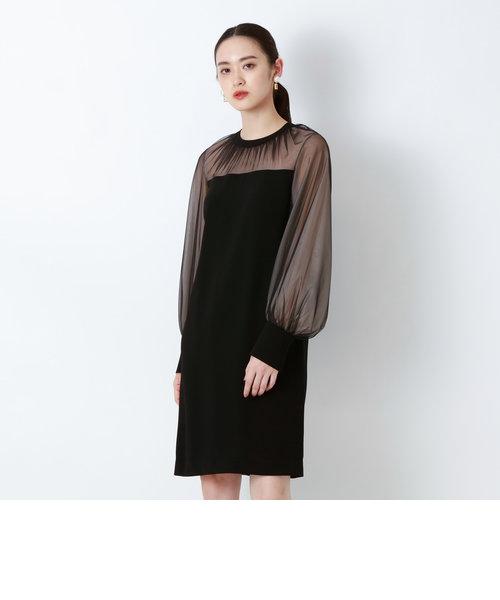 バックサテンジョーゼットドレス