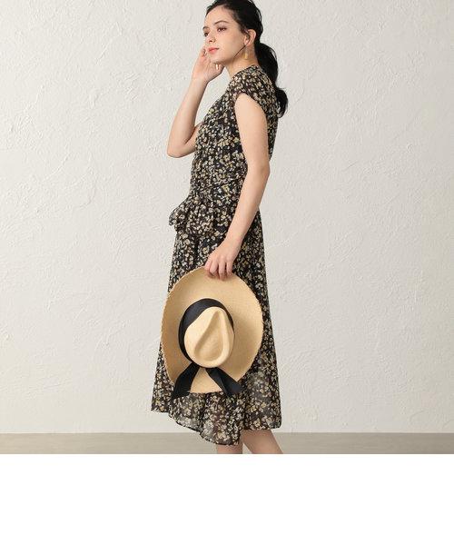 ラメフィルムフラワープリントドレス