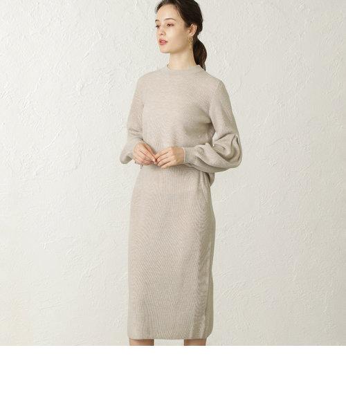ボリュームスリーブリブニットドレス