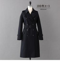 <100年コート>ダブルトレンチロングコート(三陽格子)