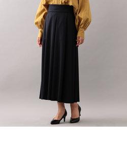ウールサテンストレッチ タックロングスカート