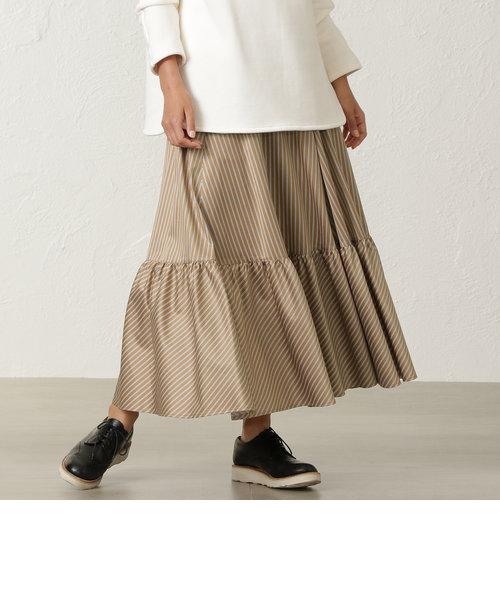サテンストライプ ロングスカート