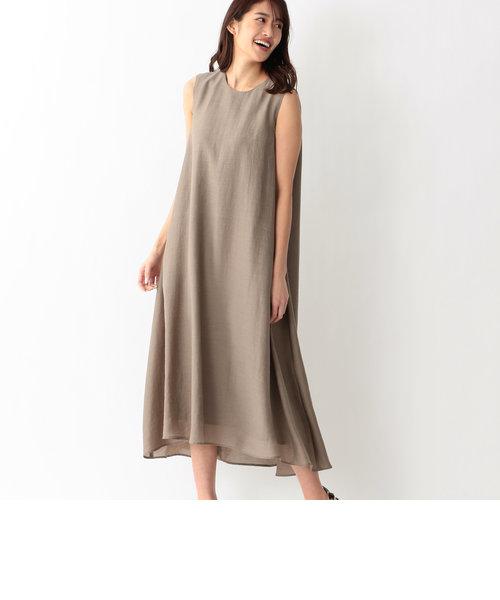 シアーシルクノースリーブドレス