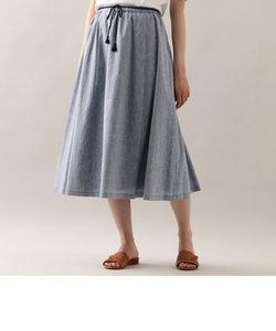 【ウォッシャブル】【水をはじきやすい】シャンブレーリネン スカート