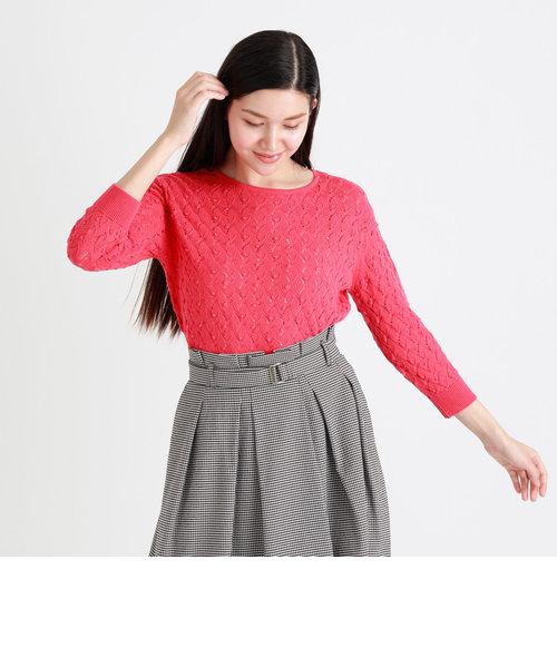 模様編みプルオーバー