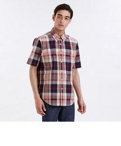 デニム/タータンチェック 半袖 ボタンダウンシャツ