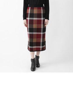クレストブリッジチェックウールニットジャガードスカート