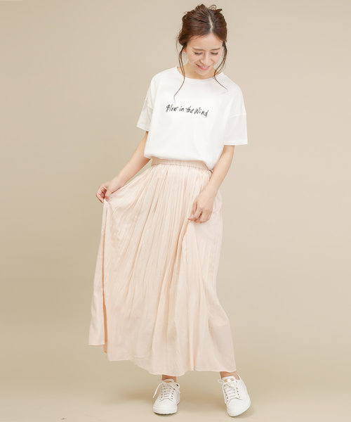 文字刺繍チュールビックシルエットTシャツ