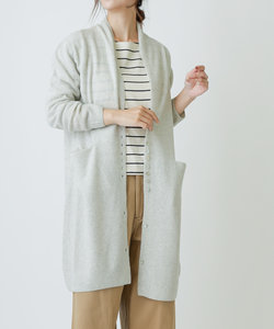 wool100%ロングカーディガン yarns made in italy