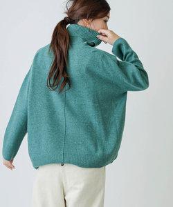 wool100%タートルネックビッグシルエットプルオーバー yarns made in italy