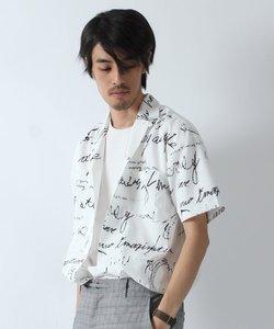 手書きロゴ柄半袖オープンカラーシャツ