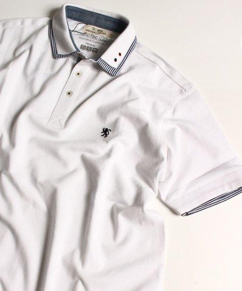 ナノテック加工/鹿の子ストライプ使い2枚衿ポロシャツ