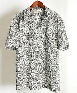 総柄 / ドロップショルダー オープンカラー 半袖シャツ