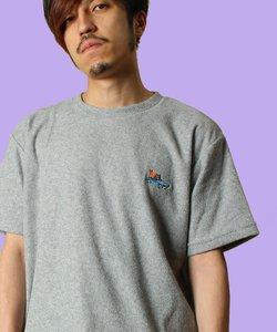 ワンポイント刺繍 タオル生地 半袖 Tシャツ / ナノテック加工