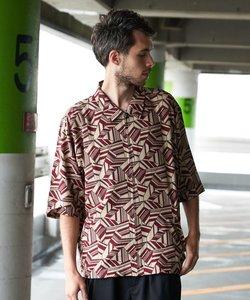 総柄 5分袖シャツ ジップブルゾン